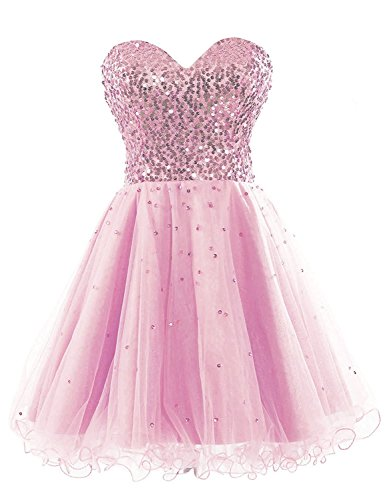 (Sarahbridal Juniors Short Tulle Sequin Prom Party Dress for Sweet 16 Pageants Cocktail Gowns Pink US2)