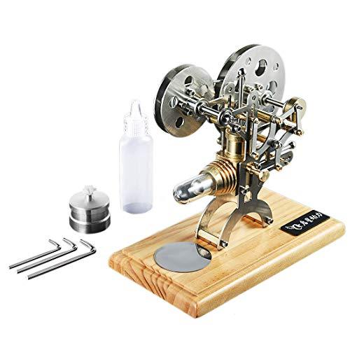 Yamix Retro Style Hot Air Stirling Engine Motor External Combustion Engine Science Educational Model Decoration with Soild Wood Base ()