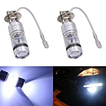KaTur 1800 Lumens Extremely Bright 100W High Power 2828 20SMD CREE XBD Chipsets Aluminum H3 LED Turn Signals Light Bulbs DRL Fog Lights DC 12V White 8000K (2-Pack)