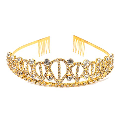 Gold Costume princess crown With Comb Pin For Girls & Women Crystal Bridal wedding Tiara