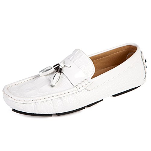 Footwear Driving White On Casual Slip Moda Shoe Scarpe Uomo Oxford da Mocassini Mocassini Barca Mocassini da da Uomo Luminosi Deck RwUTwgHq