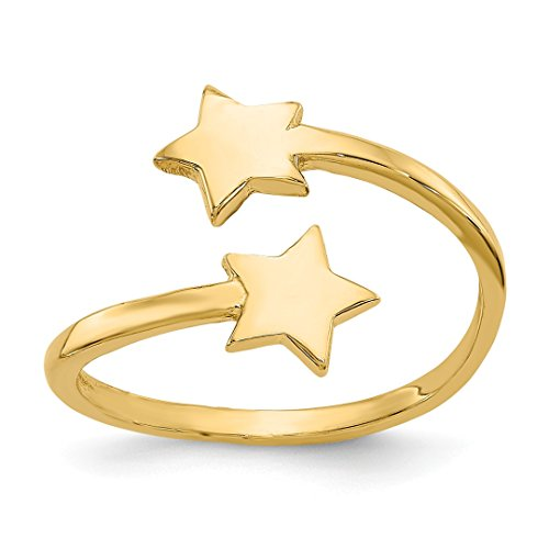 Designer White Gold Toe Ring - 14k Yellow Gold Star Adjustable Cute Toe Ring Set Fine Jewelry For Women Gift Set