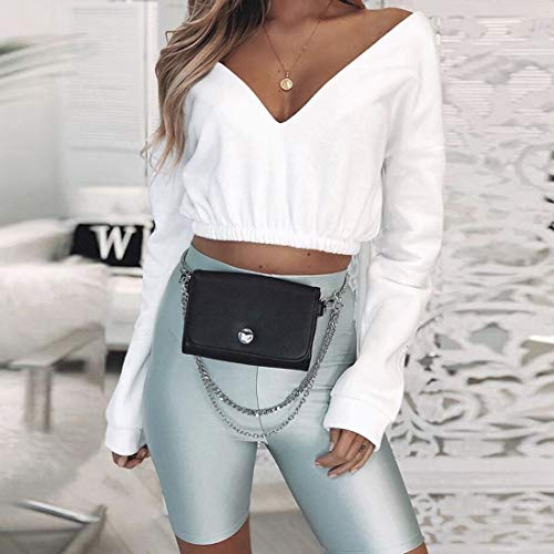 Sweat Femmes V Printemps Jumpers Hauts Col Profond Tops Manches Shirt Casual T Court Blanc Longues Unie Couleur Pulls Blouse Shirts Pullover Automne qYnYa5ct