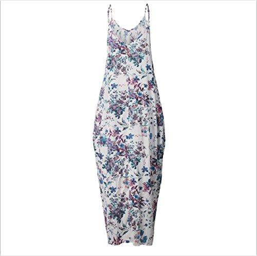 Vestito Maxi Senza Coolred V Maniche Blu Collo Beachwear Backless donne Sovradimensionato nRaaqZ7SF