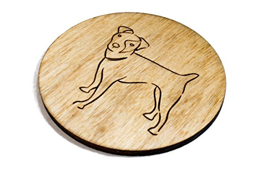 Stained Jack Russell Terrier Coasters - Set of 4 Handmade Engraved 3.5