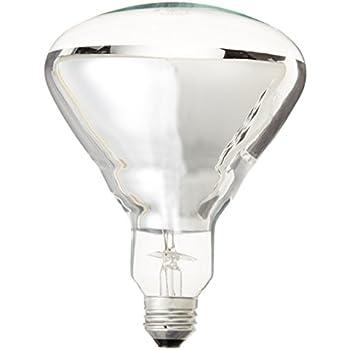 Ge Heat Lamp 48069 125 Watt R40 Light Bulb With Medium Base 1 Pack Incandescent Bulbs