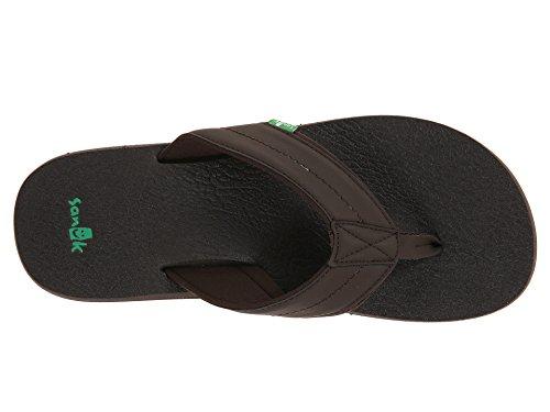 Sanuk Mens Beer Cozy 2 Sandal / Infradito / Slipper Calzature Marrone Scuro,