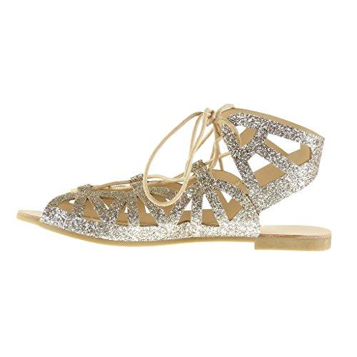 Angkorly Damen Schuhe Sandalen - Römersandalen - Sexy - String Tanga - Glitzer - Multi-Zaum Blockabsatz 1 cm Gold