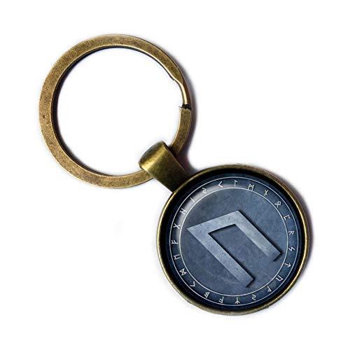 (Viking Runes Elder Futhark Rune Circle U Uruz Power Bronze Keychain Keyring)
