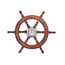 Hampton Nautical  Deluxe Class Wood and Brass Ship Wheel Clock 24 - Decorative Ship Steering Wheel - Nautical Home Decoration