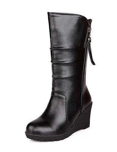 XZZ  Damen-Stiefel-Outddor   Büro   Lässig-Kunstleder-Keilabsatz-Wedges   Modische Stiefel-Schwarz   Braun   Weiß