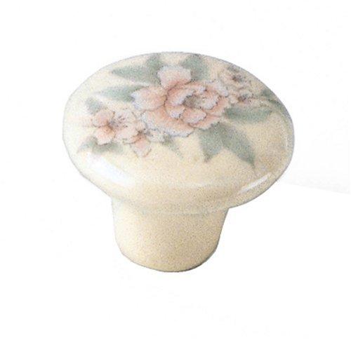 Laurey 3201 Mesa Ceramic 1-1/4-Inch Diameter Knob, Ivory with Pink Flower by - Mesa Knob Ceramic