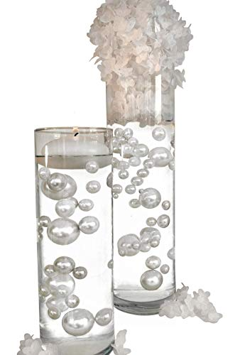 4 Packs Sale Floating No Hole White Pearls - Jumbo/Assorted Sizes Vase Decorations + Includes Transparent Water Gels for Floating The Pearls -