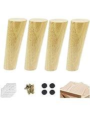 4-delige kegelbankpoten, massief houten meubelpoten, houten tafelpoten, eiken meubelpoten, met schroeven, viltkussens, voor slaapbank, kastkruk, steunpoot, tv-kastpoten