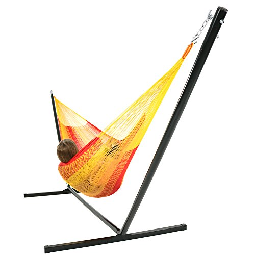 Sunnydaze Hand-Woven 2 Person Mayan Hammock with Stand, Double Size, Tequila, 400 Pound Capacity