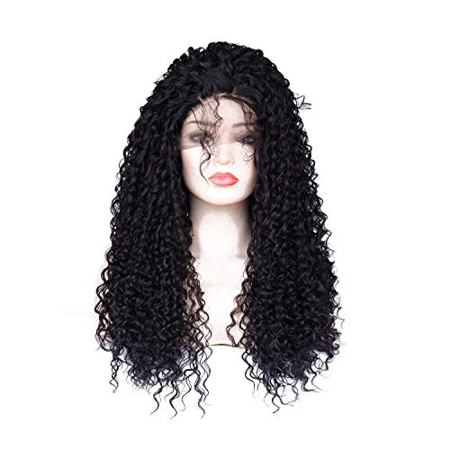 Synthetic Lace Front Wig with Baby Hair Kinky Curly Layered 150 Density Natural Hairline African American Wig for Women,#1B,180%,Lace Front,24inches ()
