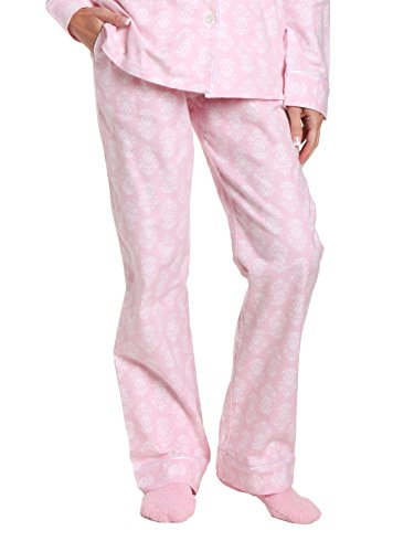 Women's Premium Flannel Lounge Pant - Brocade Pink-White - X-Large