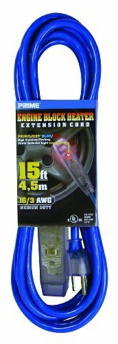 Prime Wire & Cable LTF890615 15-Foot 16/3 SJTW 50 degree C 3-0utlet Engine Block Heater Cord with Prime light Flashing Indicator Light, Blue by Prime Wire & Cable, (Iii City Engine)