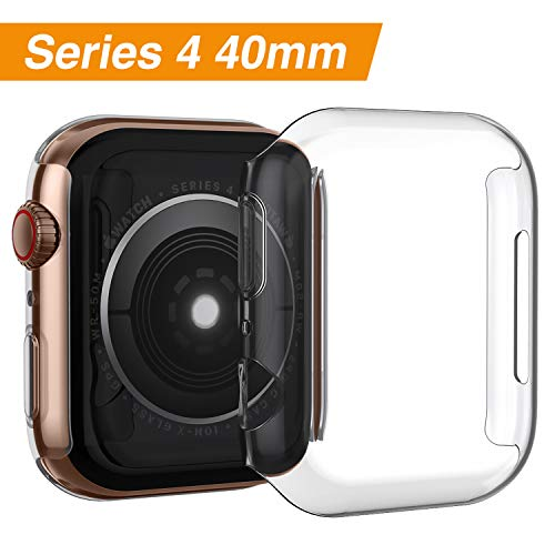 iMieet Compatible with Apple Watch Case 40mm Series 4, Soft TPU Screen Protector All-Around Protective 0.3mm HD Clear Ultra-Thin Cover Case for iWatch Series4 40mm 2018 Released