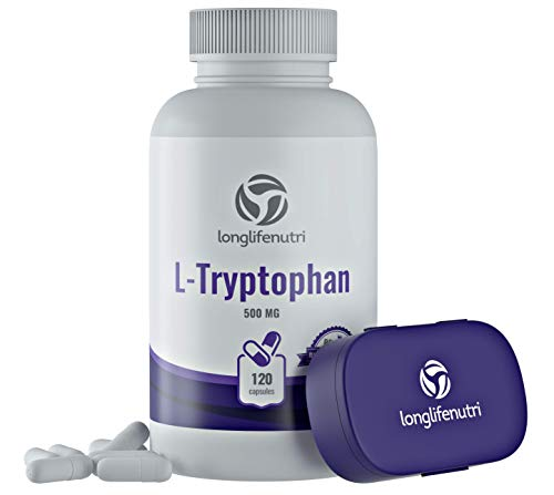 L-Tryptophan 500mg 120 Capsules | Restful Sleep | Supports Depression | Positive Mood Vitamin | Supplement to Reduce Stress | Anti Anxiety | Extra Strength Complex 1000mg Serving | Pure Natural Source