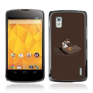 CQ Tech Phone Accessory: Carcasa Trasera Rigida Aluminio para LG Nexus 4 E960 - Funny Indiana Jones Mouse Treasure