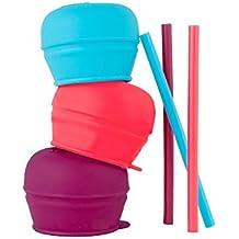 Boon Snug Straw 3Pk Pink/Purple/Blue
