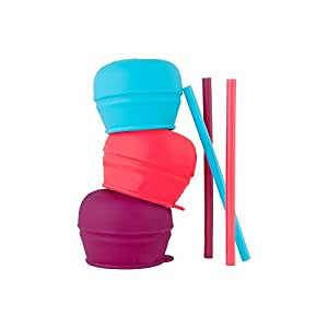 Boon Snug Straw, Pink/Purple/Blue, (Pack of 3)