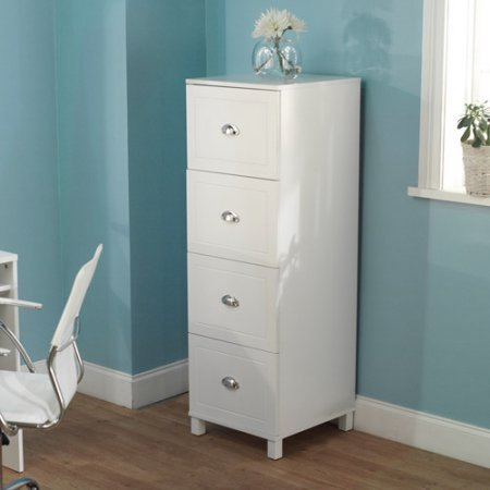 Bradley 4-Drawer Filing Cabinet, Elegant finish and modern design (White) by Generic