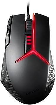 Lenovo - Ratón Gaming con 8 botones programables (USB, 8200 DPI, mano derecha, juego, PC, ordenador portátil, laser) color negro y rojo