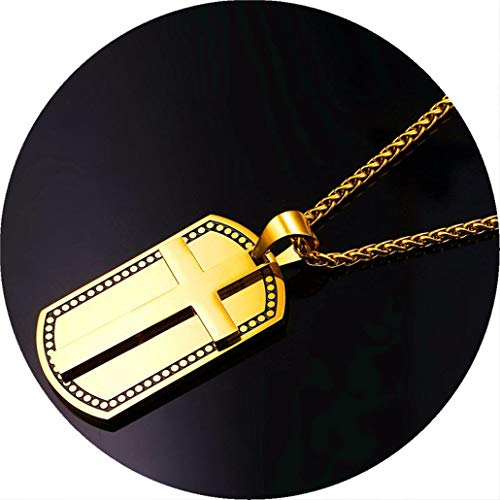 - Bergort Cross Pendants Men Military Dog Tag Stainless Steel Jewelry Gold Color Christian Engravable Necklaces Women Gift