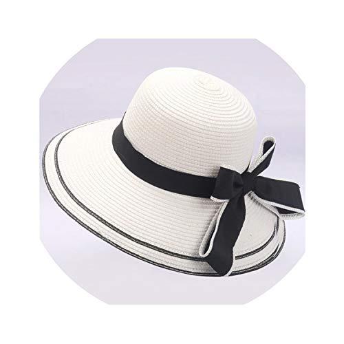(Sun hat Floppy Foldable Ladies Women Bow Straw Beach Sun Summer Hat,White,United States)