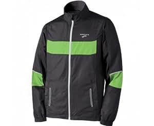 Brooks Men's Nightlife Essential Run Jacket, Black/Bright Green, Small
