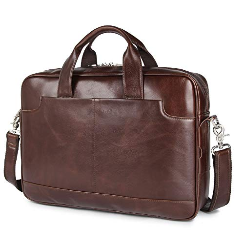 YOGCI Mens Leather Briefcase Laptop Bag for Business Work,Fits 13 14 15 Inch Computer (Napa - Brown)