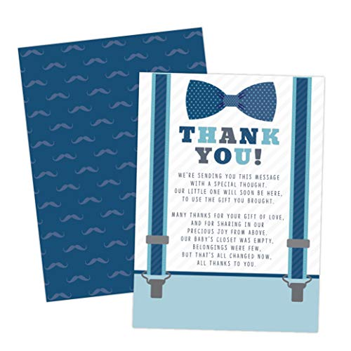 Little Man Boy Baby Shower Thank You Cards Bow Tie and Mustaches 20 Count Including - Envelope Bow