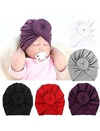 8a1afc70379 BQUBO 5 Pieces Baby Turban Hats Turban Bun Knot Baby Infant Beanie Baby Girl  Soft Cute
