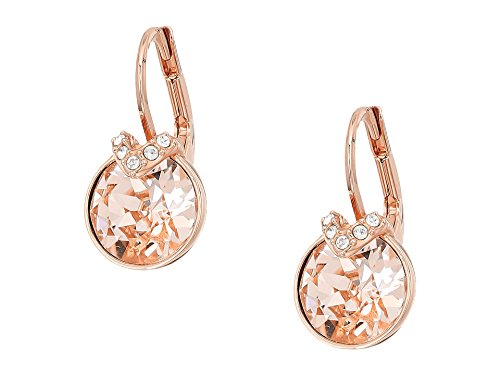 Swarovski Crystal Medium Pink Rose Gold-Plated Bella V Earrings (Fit Pierced Earrings Swarovski)