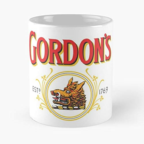 Gordons Gin London Dry Logo - Coffee Mugs Unique Ceramic Novelty Cup For Holiday Days 11 Oz.