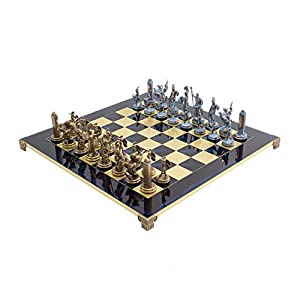 Large Luxury Blue Poseidon Greek Chess Set with 4.25 inch king and brass and nickel chessmen