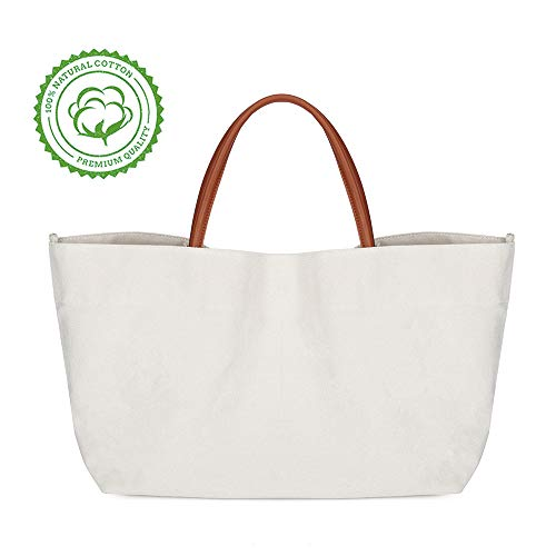 (Ziqi 100% Canvas Bags Reusable Washable Tote Bag Perfect for Crafting Decorating Eco Friendly Large Foldable Heavy Duty Grocery Shopping (white))