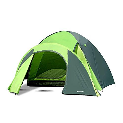 Enkeeo Zelt Wasserdicht 4 Personen Tent mit Tragetasche , Ideal für Camping, Wandern, Parks or Strand ,Grün und Grau