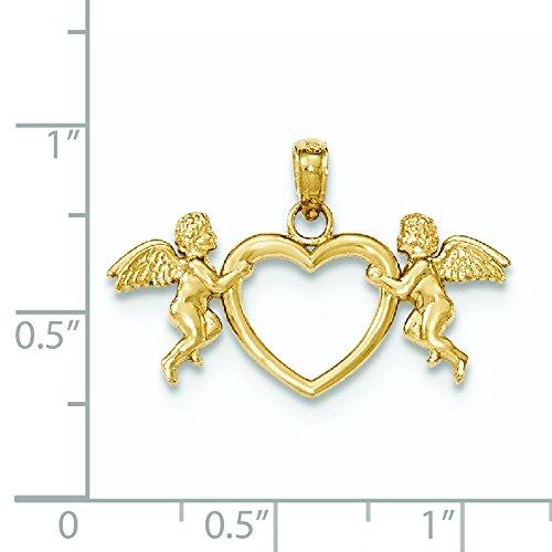 Motif chérubins 14 Carats Pendentif Coeur-JewelryWeb exploitation