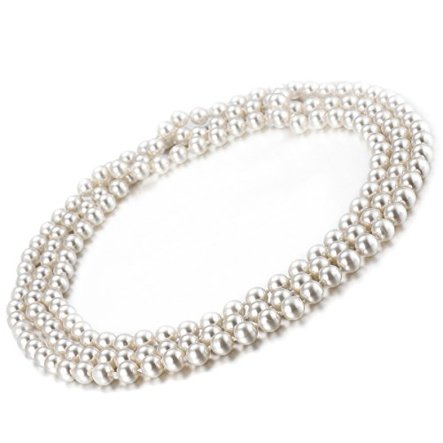 Bead Triple Strand Necklace - VIKI LYNN Flapper Beads Costume Jewelry Fashion Faux Pearl Necklace 59 inch Long Necklaces for Women