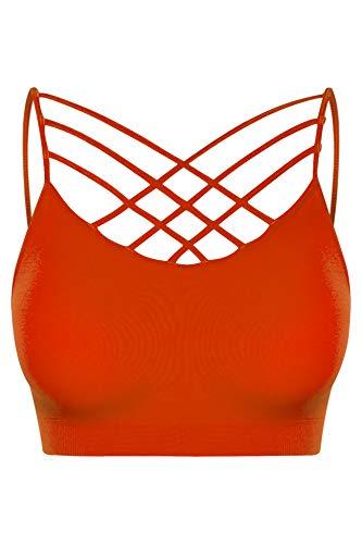 (Women's Seamless Triple Criss-Cross Padded Bralette Sports Bras Copper)