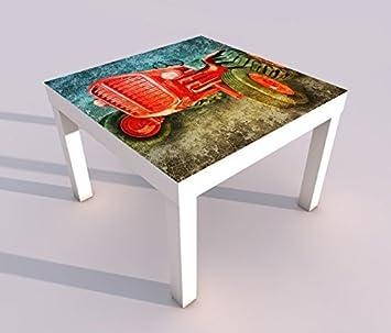 Design   Tisch Mit UV Druck 55x55cm Traktor Auto Fahrzeug Bauer Spieltisch  Lack Tische Bild Bilder