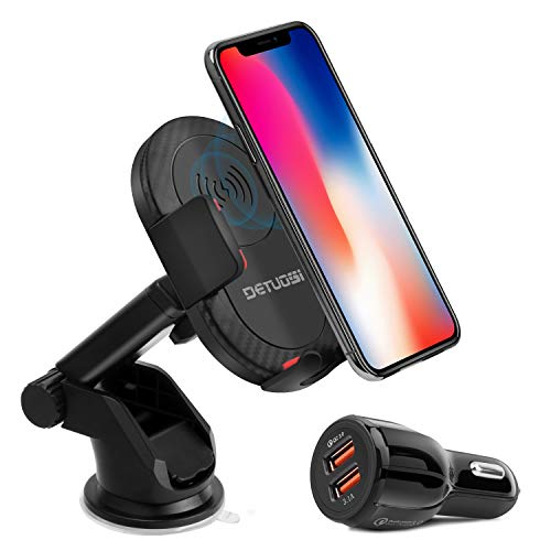 10W Wireless Car Charger, Detuosi Car Wireless Charger Car Phone Mount, Fast Charge for Samsung Galaxy S9/S8 plus/S8/S7/S6 Note 8/5, Standard Charge for iPhone X/8/8 Plus and all Qi Enabled Phones by DBNICE