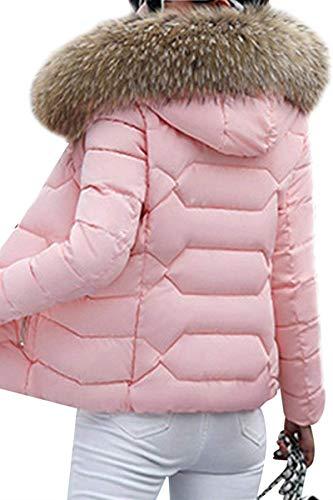 Piumini Festa 1 Monocromo Collo Pelliccia Con Lunga Cappuccio Mantello Rosa Outerwear Cappotto Cerniera Coreana Elegante Laterali Corto Manica Invernali Tasche In Style Donna BFqrOzWBxw
