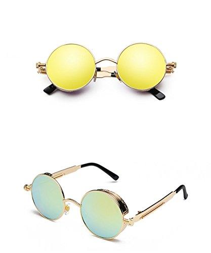 Sunglasses Lunettes Soleil X002 des Lunettes Steampunk Lunettes Couleur 9 de de 4 Rondes Soleil réfléchissantes XqSvHpS