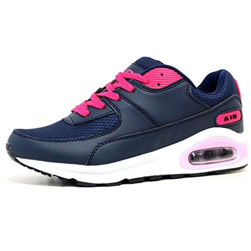 Mujer Zapatillas Para Correr Air Tech Amortiguador Gimnasio Ejercicio Zapatillas Deportivas Talla 4 - 8 Navy / Hot Pink