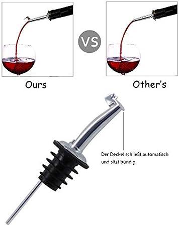 ariel-gxr 4x Botella de Vino con Tapa, vertedor de Vino metallkläppchen para Vino Aguardiente Aceite de Oliva Café Sirup Vinagre Botellas plástico tapón vertedor de Aceite
