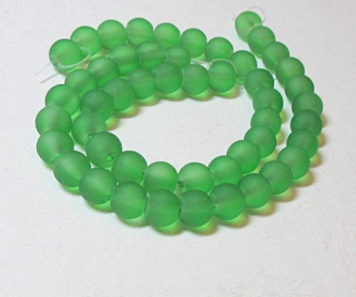 (Cherry Blossom Beads Cultured Sea Glass 8mm Peridot Green Round Beads - 16 inch strand)